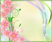 Background with flowers and butterflies. Stock Photos