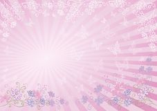 Background, flowers, butterflies and rays Stock Photo