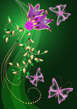 Background with flowers and butterfly Royalty Free Stock Photography