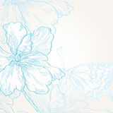 Background with  flowers and butterfly Stock Images