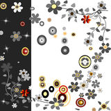Background with flowers and cercles Royalty Free Stock Photography