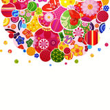 Background with flowers and circles. Illustration for your design Stock Photography