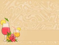 Background with flowers and cocktail Stock Images