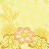 Background with flowers dahlia. Yellow holiday background with flowers and leaves dahlia Royalty Free Stock Photo