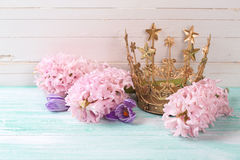 Background with flowers and decorative crown Stock Photo