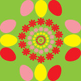 Background with flowers and egg. Vector colorful background with flowers and egg Stock Images