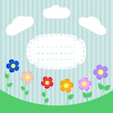 Background with flowers and frame for scrapbook Stock Photography