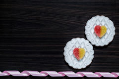 Background with a flowers from gingerbread with icing and jujube Stock Photos
