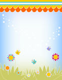 Background with flowers, grass and butterflies Royalty Free Stock Photos