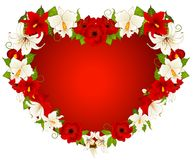 Background with  flowers and heart Royalty Free Stock Image