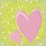 Background with flowers and hearts Stock Photography