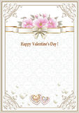 Background with flowers and hearts in a frame with an ornament for Valentine's Day Royalty Free Stock Photos