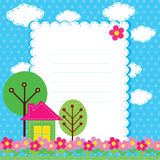 Background with flowers and a home for chil Stock Image