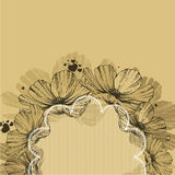 Background with flowers, lace frame and hearts. Vector illustrat Stock Photography