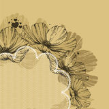 Background with flowers, lace and hearts. Vector illustration. Royalty Free Stock Photos