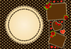 Background with flowers and lace ornament Royalty Free Stock Photo