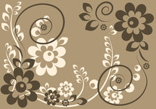 Background with flowers and leaves. Background in beige and gray scale with flowers and leaves Stock Photography