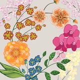 Background with flowers and leaves, greeting card. Background with flowers and leaves. Vector illustration greeting card Stock Images