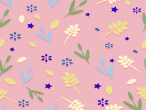 Background with flowers and leaves and stars. Royalty Free Stock Image