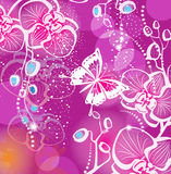 Background with flowers orchid. And butterfly Stock Image
