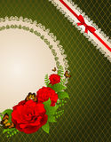 Background with flowers and ornaments Stock Photo