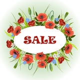Background with flowers and oval label. Royalty Free Stock Image