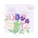 Background with flowers peonies,  irises and pansies-02 Royalty Free Stock Images