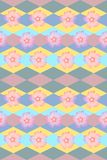 Background with flowers and rhombuses. Seamless floral and geometric pattern. For fabric, wallpaper, web design Stock Photo