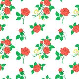 Background, flowers rose. Vector floral seamless background, flowers red rose on the white Stock Photo
