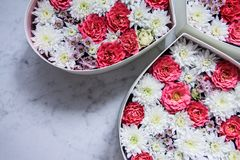 Gift box with heart shaped flowers on grey marble background royalty free stock photo