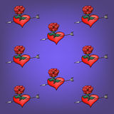 Background of flowers roses and hearts Stock Photography