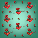 Background of flowers roses and hearts Royalty Free Stock Images