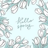 Background with flowers of snowdrops in the style of hand-drawn in light blue color with inscription. Royalty Free Stock Photos