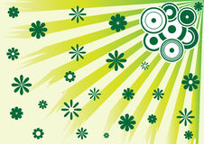 Background with flowers and a speakers. Green background with flowers and a speakers Stock Photo