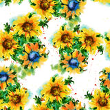 Background flowers sunflower. Seamless pattern. Watercolor illus Royalty Free Stock Photography