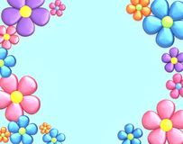 Background with flowers. Top view with copy space. 3D render Royalty Free Stock Images