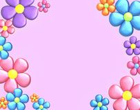 Background with flowers. Top view with copy space. 3D render Royalty Free Stock Image