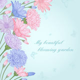 Background with flowers. Vector summer card with colorful flowers asters and daisies in vintage style. Pastel colors royalty free illustration
