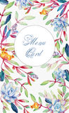 Background with flowers. Watercolor blue succulents. Royalty Free Stock Image