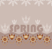 Background with flowers and the words Spring. Stock Images