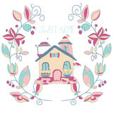 Background with flowers wreath and the house Stock Image