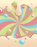 Background with flowing syrup and color bubbles Stock Images