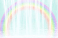 Background with flowing water and rainbow Stock Photo