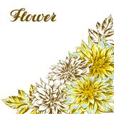 Background with fluffy yellow dahlias. royalty free stock photography