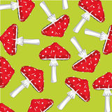 Background from fly agaric. Mushrooms fly agarics on green background is insulated Royalty Free Stock Photography
