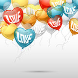 Background with flying balloons in the shape of a Stock Image