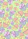 Background of flying cupcakes Royalty Free Stock Images