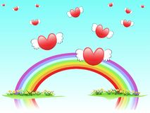 Flying hearts on rainbow. The background of flying hearts on rainbow for valentine day Stock Photos
