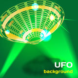 Background with a flying saucer UFO aliens with space for text Royalty Free Stock Image