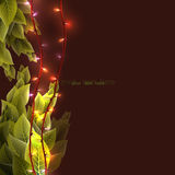 Background with foliage and sparkling lights. Foliage with light,. Vector Royalty Free Stock Photos